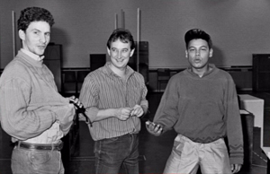 Doug Naylor with Chris Barrie and Craig Charles, rehearsing Series 1