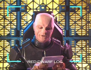 Kryten reading the question cards