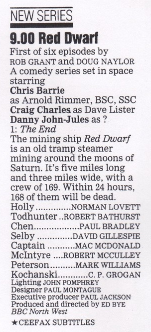 Red Dwarf: The End Radio Times capsule