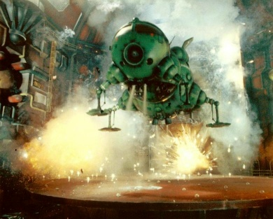 Starbug taking off in Demons and Angels. Later reused flipped in Rimmerworld, of course. Select to enlarge.