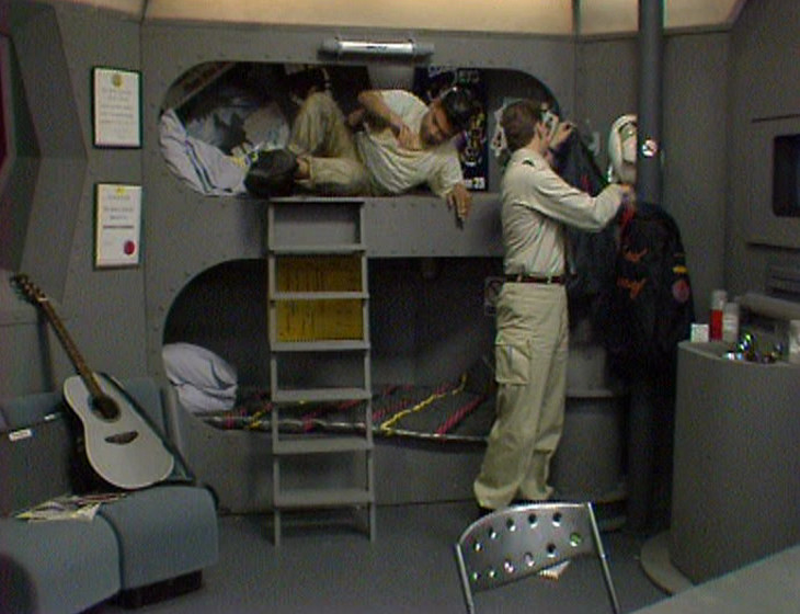 Rimmer and Lister in the bunkroom