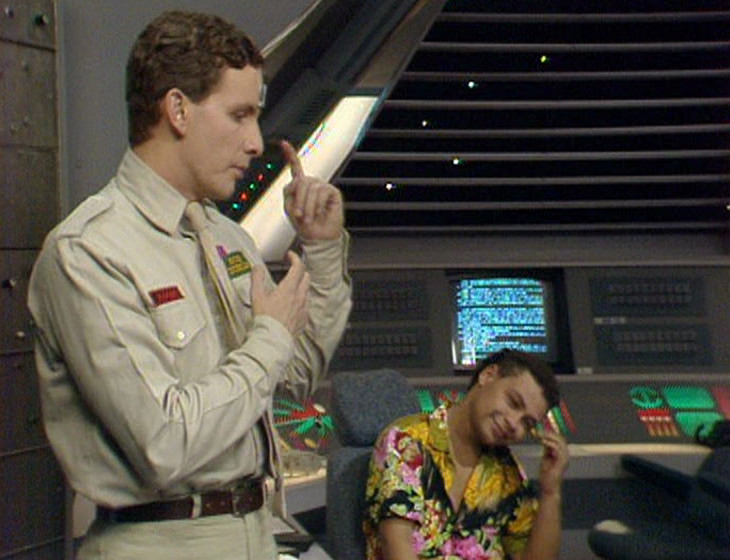 Rimmer and Lister in the Drive Room without Holly in vision
