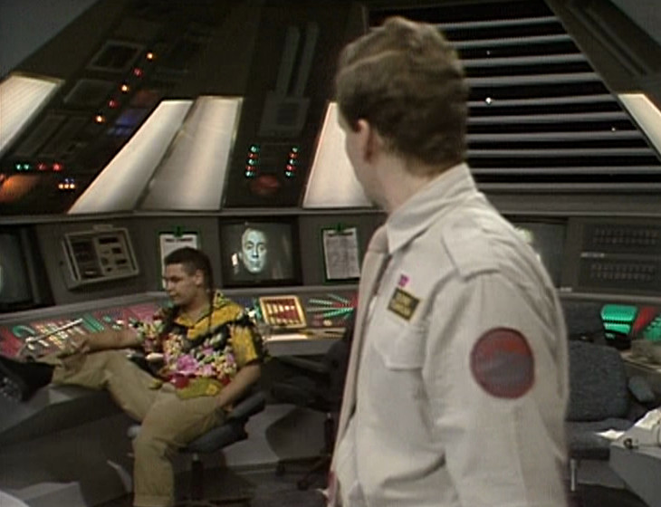 Rimmer and Lister in the Drive Room with Holly in vision