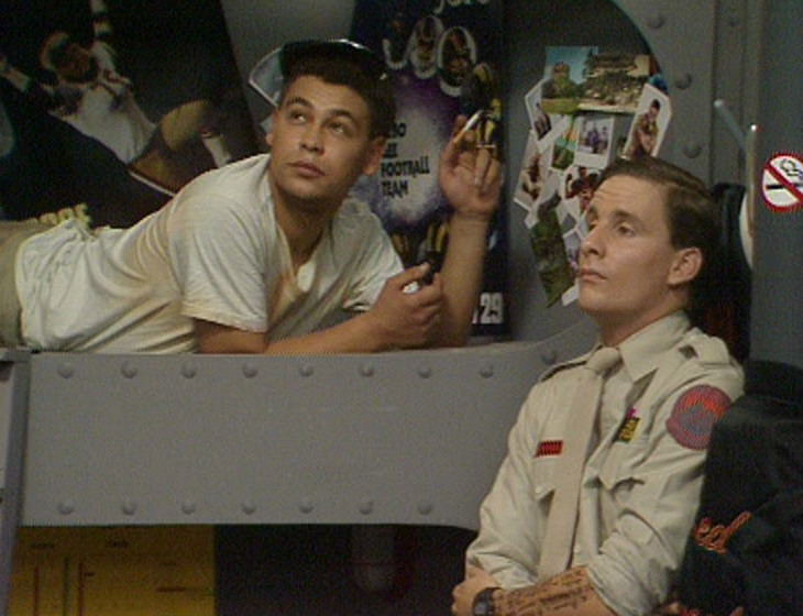 Lister and Rimmer in the bunkroom
