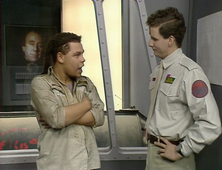 Rimmer, Lister and Holly in the Observation Room