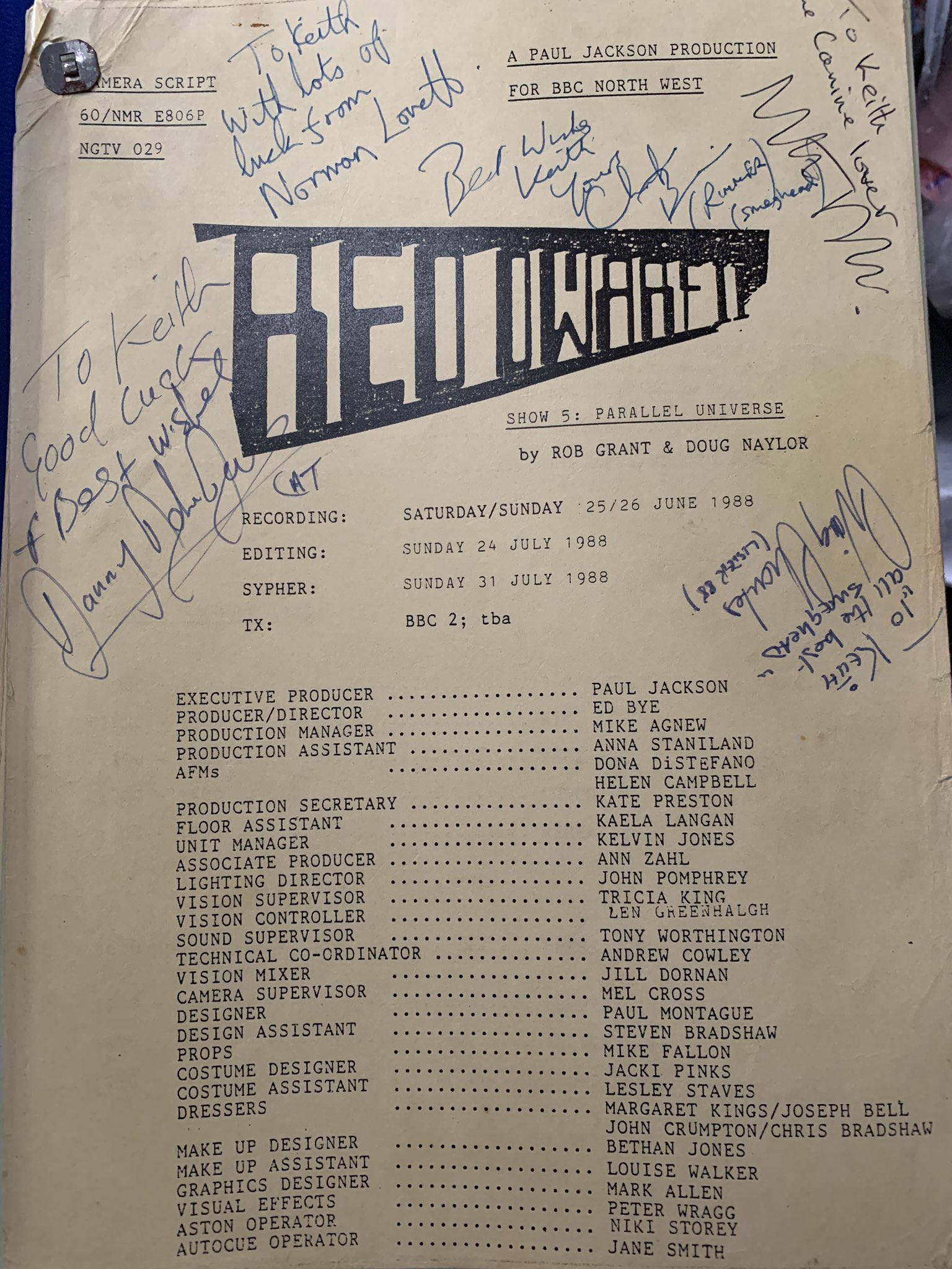 Parallel Universe script cover