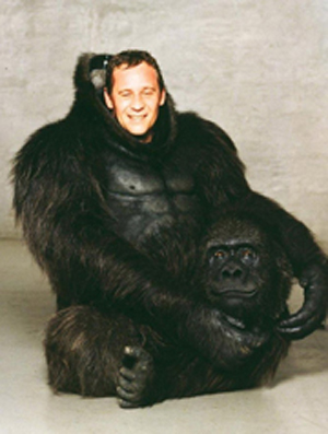 Animal movement expert Peter Elliott as a gorilla.