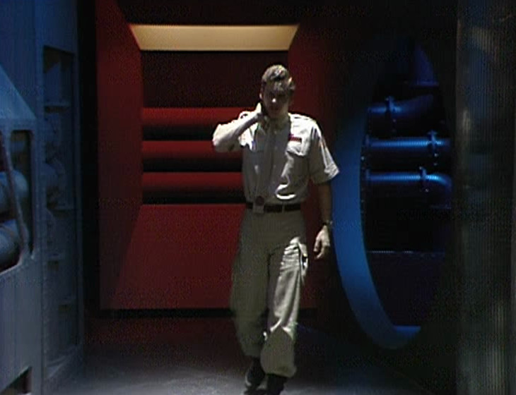 Rimmer walking down a different corridor, honest