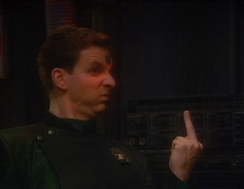 Rimmer gives Ace the finger