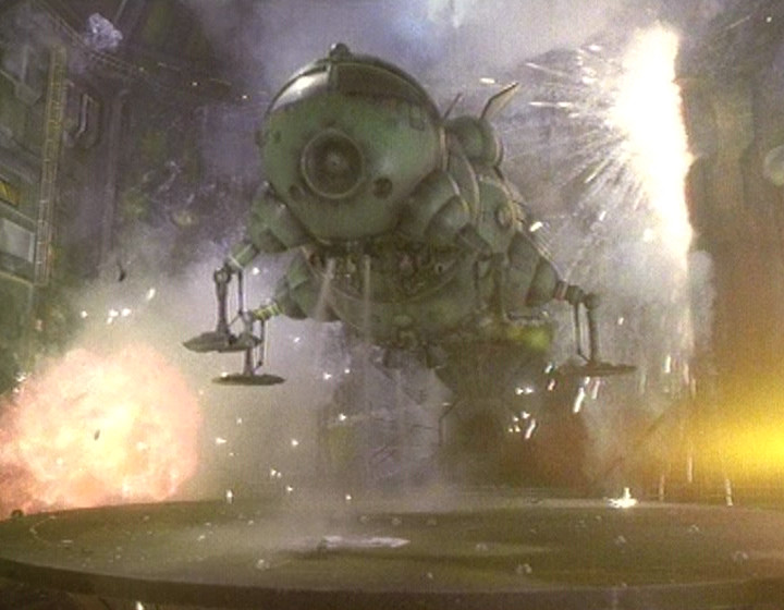 Starbug taking of with explosions around it