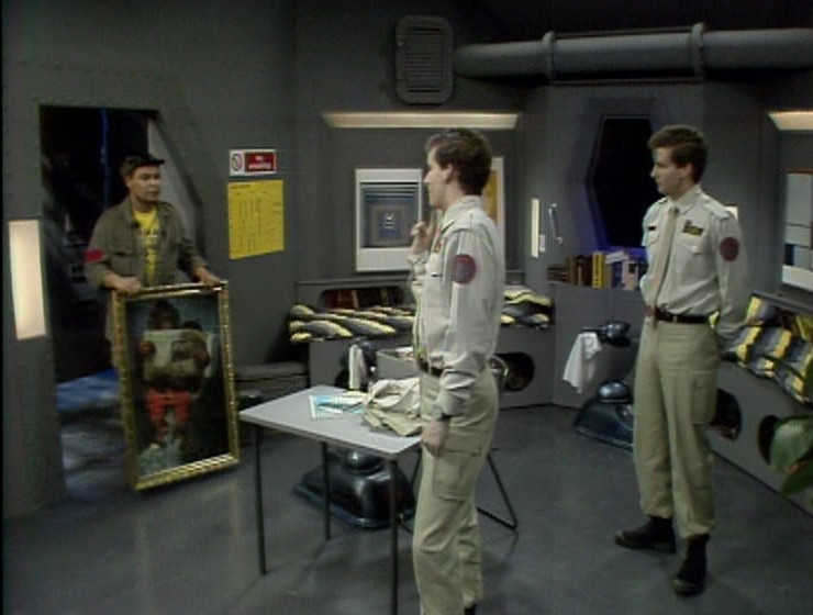 Lister and the two Rimmers in Rimmer's bunkroom