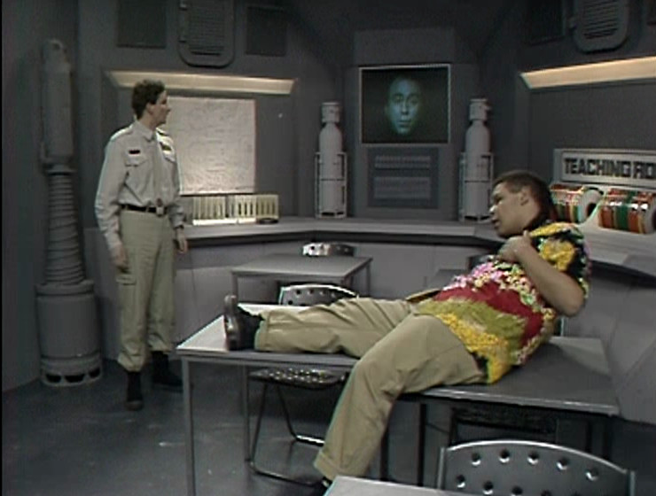 Lister and Rimmer still in the Teaching Room